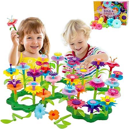BAISIQI Jouets pour Les 3-6 Ans Jouet Fille Joy-Fun Fleur Jeux De Constructions Jeux Creatifs pour Les Enfants 98 PCS Bloc De Construction Cadeaux d'anniversaire