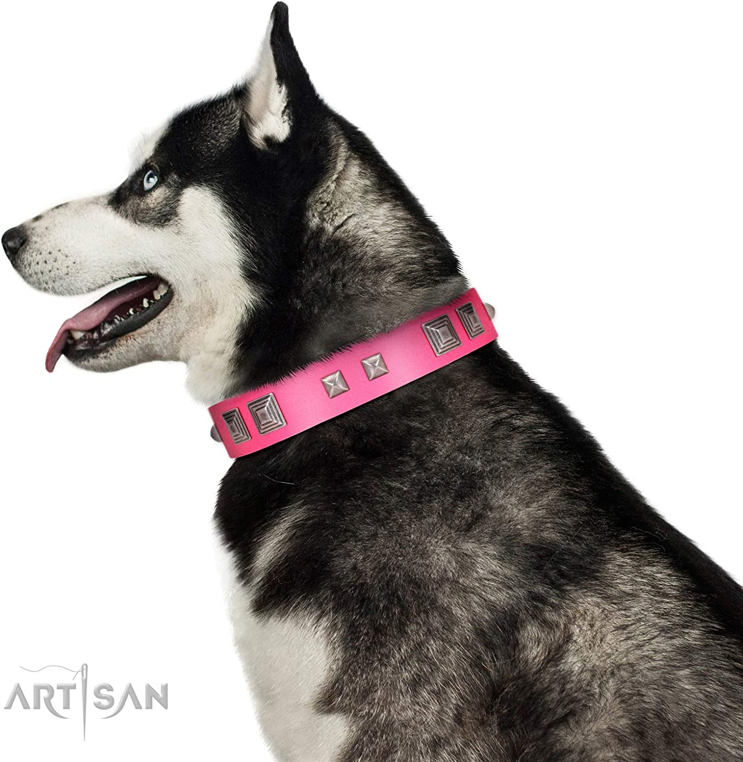 FDT Artisan 23 inch Designer Handmade Pink Leather Dog Collar  Rosy Evolution  1 1 2 inch (40 mm) Wide  Gift Box Included
