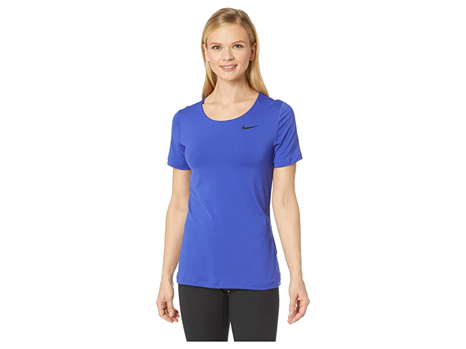 Nike Pro Mesh Short Sleeve Top (Light Concord/Black) Women