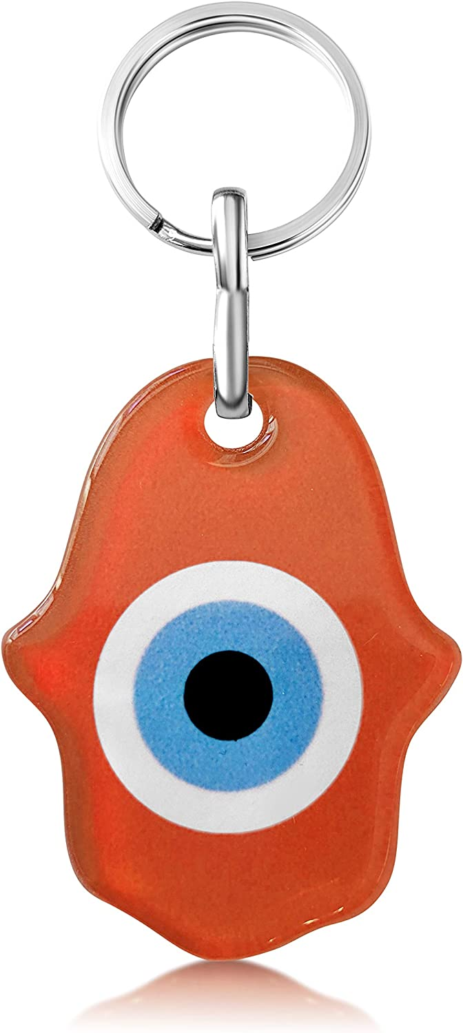 Hamsa Hand Keychain Charm Holder with Evil Eye for Women and Men Good Luck Colorful Protection Amulet for Keys