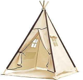 Tienda de campaña para niños de Lavievert, para jugar, diseño indio, de 100% algodón, palos de madera de pino, para interior y exterior, con una alfombrilla para el suelo impermeable