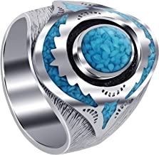 Gem Avenue Mens 925 Sterling Silver Turquoise Inlay Mosaic Design Ring