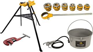 Steel Dragon Tools 12-R Manual Ratchet Pipe Threader Kit 418 Oiler 460 Chain Vise 2A Cutter