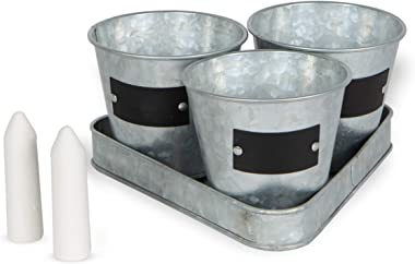 Large Galvanized Chalkboard Basket Bucket Planters Indoor Outdoor Set of 3 Flower Herb Pot Succulent Plant Tray