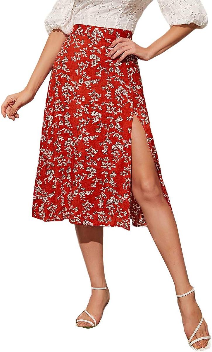 MakeMeChic Women's Boho Floral Print Slit High Waist Midi Skirt