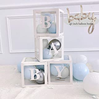Baby Shower Decoration Balloon Box - 4 pcs Transparent Balloons Blocks with Letter BABY with balloons, centerpieces party favors for baby girl boy birthday gender reveal backdrop