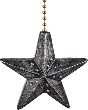 Clementine Designs Black Barn Star Decorative Ceiling Fan Light Dimensional Pull