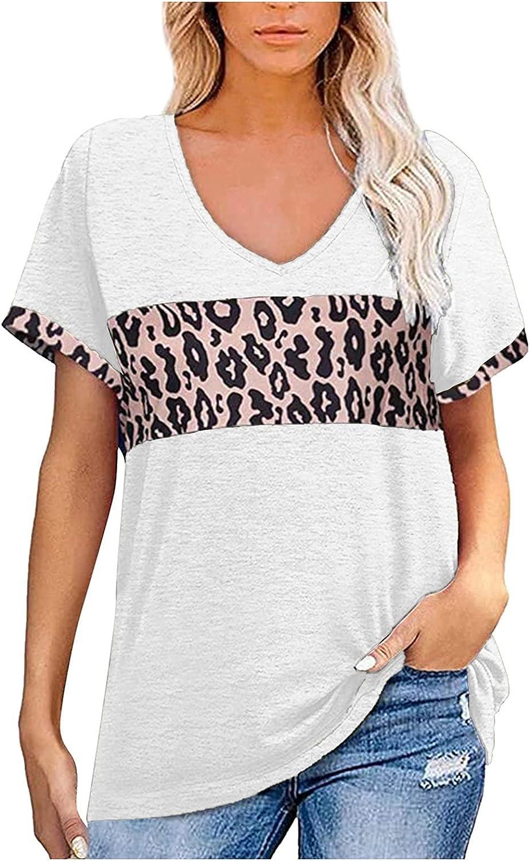 Womens T Shirts Loose Fit Fashion Woman V-Neck Short Sleeve T-Shirt Summer Print Blouse Tops