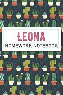 Leona HOMEWORK NOTEBOOK: Personalised Leona Homework Notebook Composition and Journal Gratitude Diary