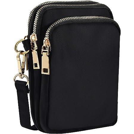 INSOUR Nylon Handy Crossbody Tasche Multifunktionale 3 Schichten Lagerung Reißverschluss Mini Schultertasche Hüfttasche - 2 Farben