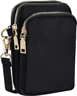 INSOUR Nylon Handy Crossbody Tasche Multifunktionale 3 Schichten Lagerung Reißverschluss Mini Schultertasche Hüfttasche - ...