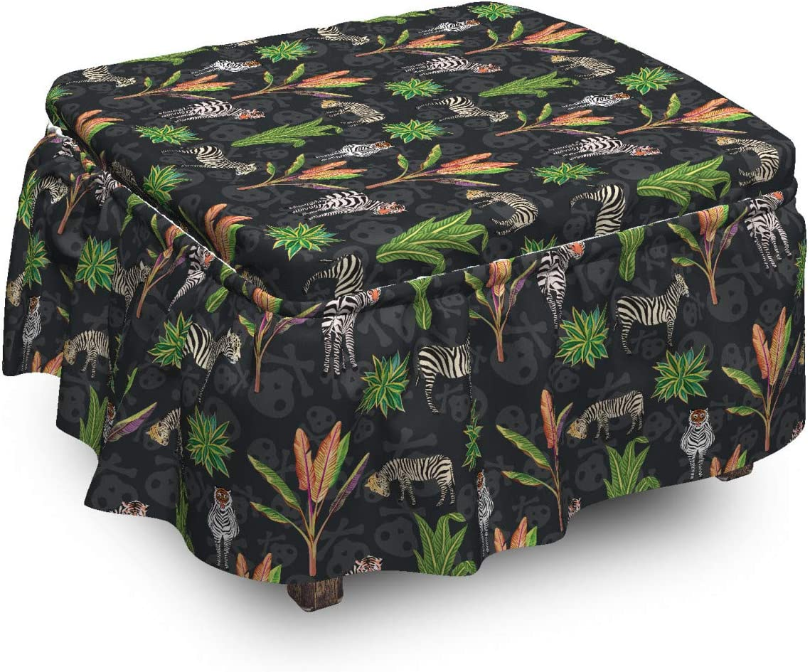 Lunarable 1 year warranty Tropical Ottoman Cover Max 66% OFF Surreal Tiger 2 Skull Zerbas