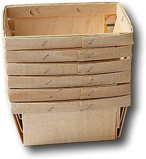 Pint Rectangular Vented Wooden Berry Baskets - Set of 6