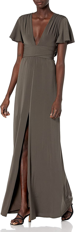 Halston Heritage Women's Flutter Short Sleeve Deep V Wrap Jersey Gown