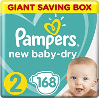 Pampers New Baby-Dry Diapers, Size 2, Mini, 3-8kg, Giant Box, 168 Count