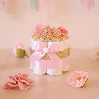 Pink & Gold Princess MINI Diaper Cake / Baby Shower Centerpieces decorations / Girls Room Nursery Decor / New mom unique gifts / Tiara Crown
