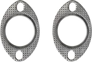 PitVisit 2 Inch (50mm) Oval Ultra Seal 2-Bolt Exhaust Flange Gasket High Temperature for Exhaust Turbo Downpipe Heavy Duty Graphite and Stainless Steel - Pack of 2