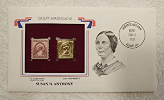 Susan B. Anthony - Great Americans - Postage Stamp (1936) & 22kt Golden Replica Stamp plus Info Card - Postal Commemorative Society, 2001 - Women's Suffrage Movement, Social Reform, Women's Rights