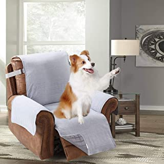 Brilliant Sunshine Yarn Dyed Cotton Blend Large Recliner Protector for Seat Width Up to 28, Furniture Slipcover, 2 Strap, Pet Cover for Recliner, Reclining Chair Cover, Recliner, Light Gray