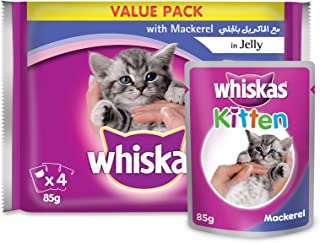 Whiskas Mackerel in Jelly - 85 gm, Pack of 4