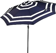 Sunnydaze 9 Foot Outdoor Patio Umbrella with Push Button Tilt & Crank, Aluminum, Navy Blue Stripe