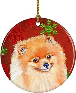 Caroline's Treasures LH9350-CO1 Pomeranian Red Snowflake Holiday Christmas Ceramic Ornament, Multicolor