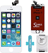 SANKA iPhone 5 LCD Display Screen Replacement Repair Kit, Digitizer Retina Touch Screen Glass Frame Assembly for iPhone 5 - White (Repair Tools Included)