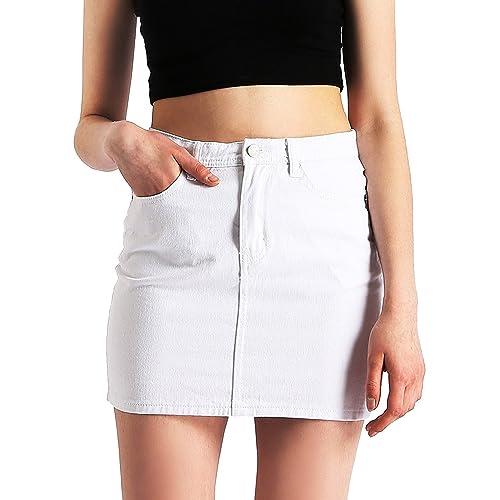 375302adc AMORETU Womens Retro High Waisted Mini Denim Jeans Skirt