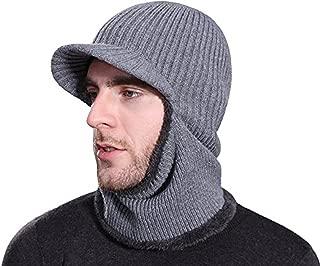 Rgslon Winter Tuque Knit Ninjia Cap Visor Windproof Ski Face Mask Warm Fleece Balaclava Beanie Hat