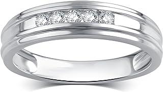 La4ve Diamonds 0.25 Carat Diamond Men's Wedding Ring in 10K White Gold (Color - I-J) (Clarity - I2-I3)