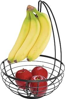 BESTOMZ Cesta de fruta del Metal de cocina con gancho de soporte de la suspensi/ón de pl/átano desmontable negro