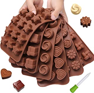 Chocolate Candy Mold Silicone Trays + Recipes eBook - Nonstick, BPA-Free and FD Approved - Make Fun Chocolate Shapes, Gummy Candies, Hard Candy and Ice (Fancy Shapes - 6 Trays)
