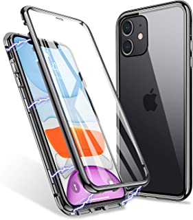 iPhone 11 Case, ZHIKE Magnetic Adsorption Case Front and Back Tempered Glass Full Screen Coverage One-Piece Design Flip Cover [Support Wireless Charging] (Clear Black)