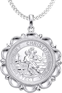 YL St Christopher Necklace Solid 925 Sterling Sliver Personalized Engraved Round Medallion Antiqued Religious Protector Talisman Pendant, Medal/Laced/Locket
