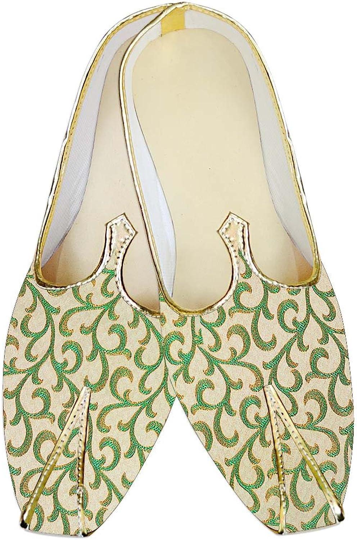 INMONARCH Mens Ivory and Green Wedding Mojari MJ015658