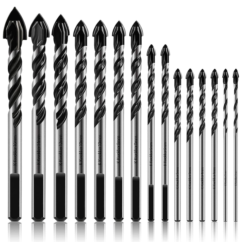 K Kwokker 15Pcs Masonry Drill Bits 3mm Ultimate NEW before Max 48% OFF selling ☆ to Dri 16mm Set