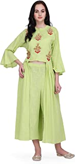 Pret A Porter Green Colored Cotton Flax Designer Kurti With Palazzo Pants (Stitched)