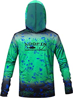 Performance Fishing Hoodie UPF 50 Sunblock Shirt Long Sleeve Quick-Dry Loose Fit Fade Pattern