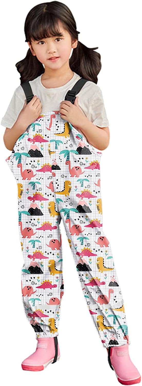 Boys and Girls Suspender Rain Pants Bib Kids Toddler Waterproof Rain Pants Dirty Proof Windbreak Cute Outwear Pants
