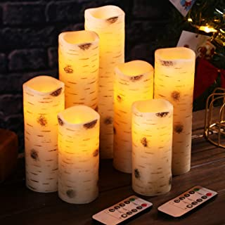 2.2X6 Top Birch Bark Pillar Candle with Flickering Effect and Real Smooth Wax for Gifts and Decoration