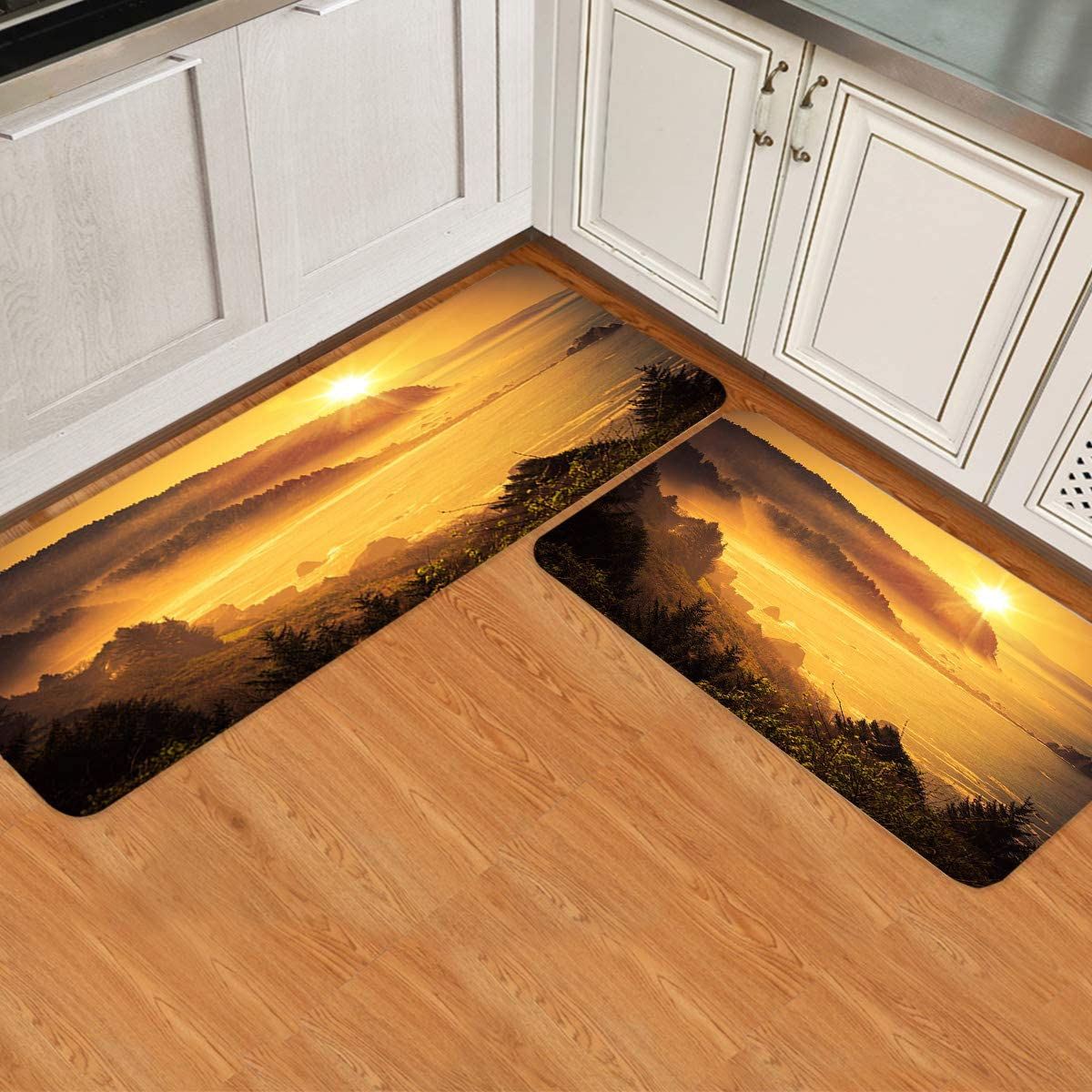 Olivefox Non-Slip Modern Omaha Mall 2 Pieces Kitchen Decor Mats for Laundry Popular standard