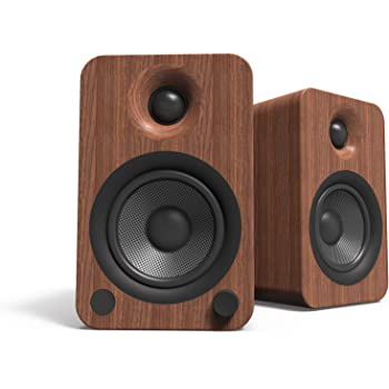 Kanto YU4 140W Powered Bookshelf Speakers with Bluetooth and Phono Preamp | Walnut | Pair