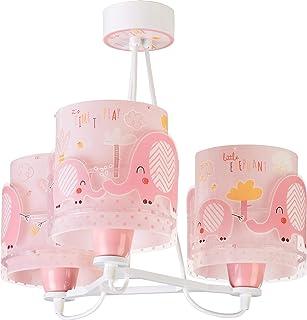 Dalber Little Elephant Lámpara Infantil de Techo 3 Luces Elefante, 60 W, Rosa