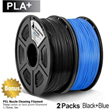 3D Warhorse PLA Plus(PLA+) Filament, PLA Plus(PLA+) Filament 1.75mm, Dimensional Accuracy +/- 0.02 mm, 4.4 LBS(2KG), Bonus with 5M PCL Nozzle Cleaning Filament, Black+Blue