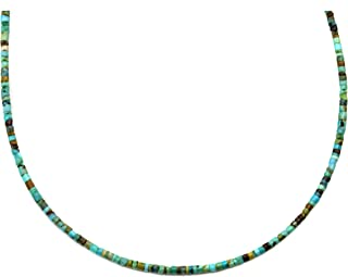 Turquoise Necklace Solid Strand Blue Heishi Teeny Tiny Stones Small Dainty Simple, 18