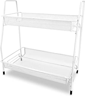 Zengest 2-Tier Bathroom and Kitchen Cabinet Organizer, Wire Basket Storage Container Countertop Shelf, Makeup Organizer Rack, White