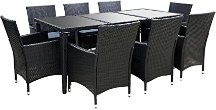 Gardeon 9pcs Outdoor Dining Furniture Set-Black