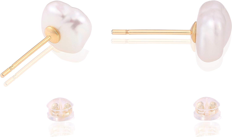 Nature Baroque Biwa Pearl Cubic Zircon Gold Dealing full price reduction Fi Stud Earrings 18K Sacramento Mall