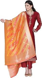 PINKSHINK Women's Readymade Red Satin Indian/Pakistani Salwar Kameez with Banarasi Silk Dupatta