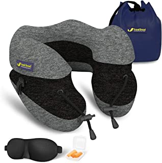 Travel Bread Adjustable Height Travel Neck Pillow, 100% Pure Memory Foam U-Shaped Travel Pillow for Airplane Travel, Ergonomic Design Full Neck Chin Support Airplane Pillow with Portable Bag